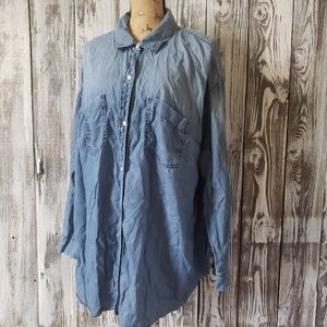 A.N.A. Chambray ombre button down top J